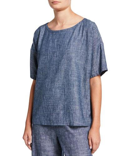 Chambray Scoop-Neck Short-Sleeve Top