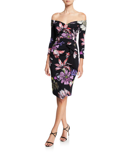 cb381d7d8371 Three Quarter Sleeve Cocktail Dress   Neiman Marcus