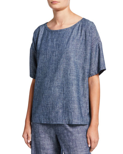 Petite Chambray Scoop-Neck Short-Sleeve Top