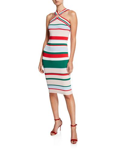 Striped Bodycon Halter Dress