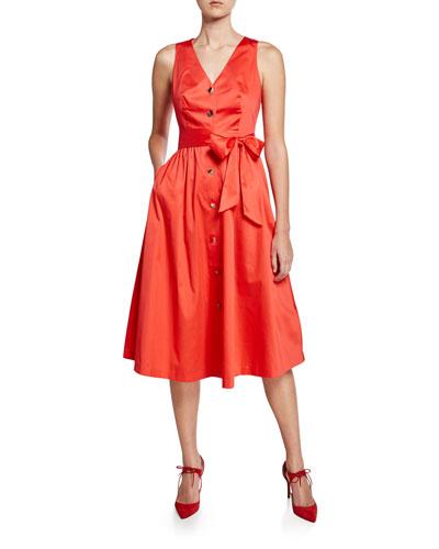 V-Neck Button-Down Stretch-Cotton Midi Dress
