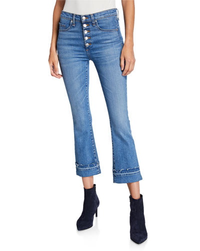 Carolyn High-Rise Crop Boot-Cut Jeans w/ Cuffs