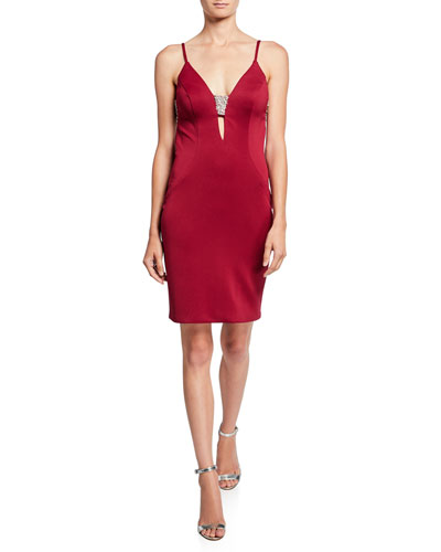 V-Neck Open-Back Sleeveless Bodycon Dress w/ Jewel Insets