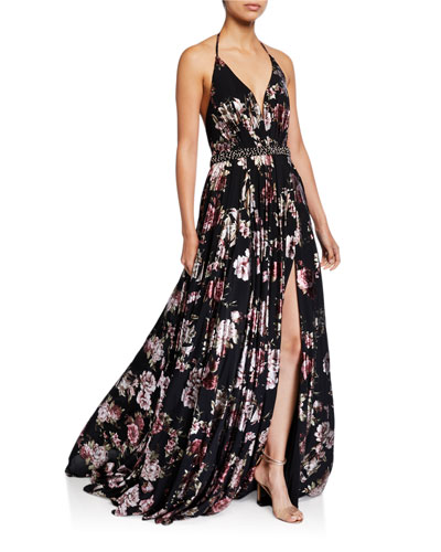 Floral Accordion Pleated Halter Gown