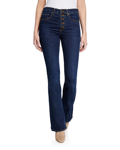 Beverly High-Rise Flare Jeans with Exposed Fly