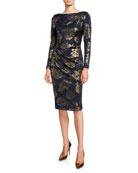 Jovani High-Neck Long-Sleeve Novelty Fabric Shirred Short Dress
