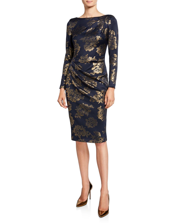 35bdacde07 Jovani High-Neck Long-Sleeve Novelty Fabric Shirred Short Dress In Navy/Gold