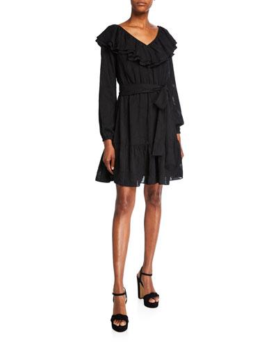 Ruffle V-Neck Long-Sleeve Dress