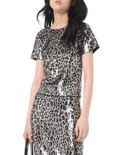 Cheetah Sequin Short-Sleeve Crop Top
