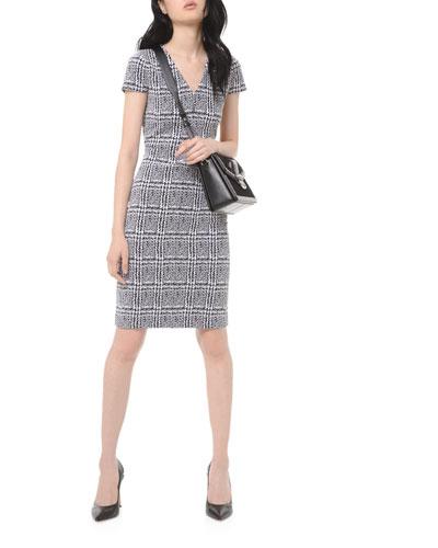 Plaid Jacquard Short-Sleeve Bodycon Dress