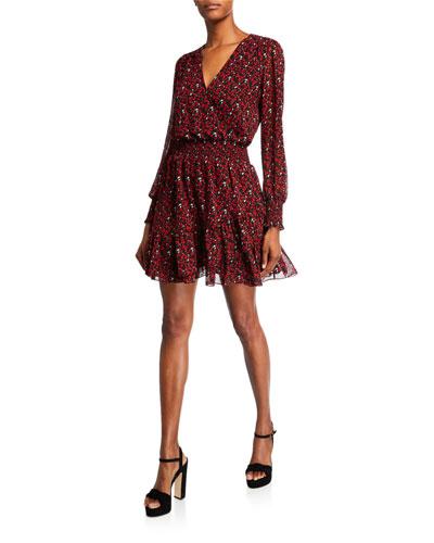 Printed Blouson-Sleeve Short A-Line Dress