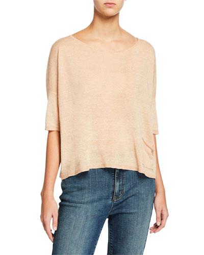 Plus Size Organic Linen Delave Ballet-Neck Elbow-Sleeve Box Top