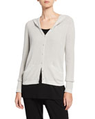 Eileen Fisher Organic Cotton/Silk Hooded Snap-Front Waffle