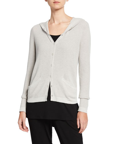 Organic Cotton/Silk Hooded Snap-Front Waffle Cardigan