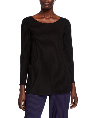 Scoop-Neck Long-Sleeve Ribbed Shirttail-Hem Top