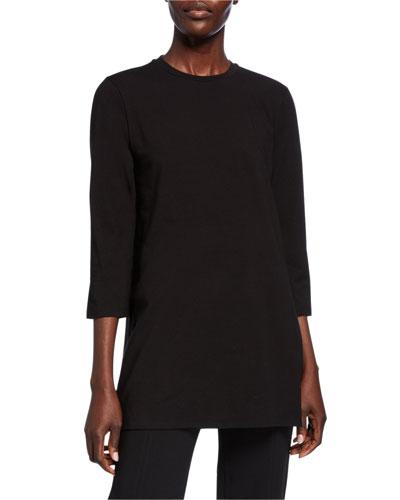 Petite Crewneck 3/4-Sleeve Jersey Cotton Tunic