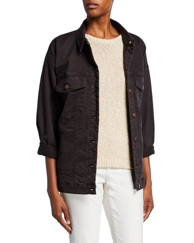 Petite Organic Stretch-Cotton Relaxed Denim Jacket
