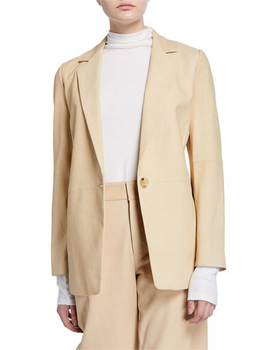 Nubuck One-Button Leather Blazer