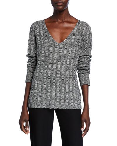 Petite Silk/Organic Linen Marled V-Neck Sweater