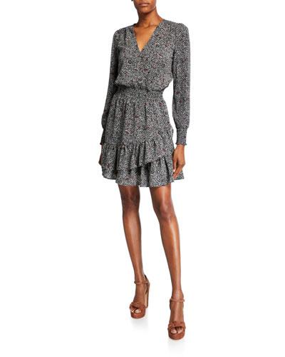 Boho Block Long-Sleeve Ruffle Dress