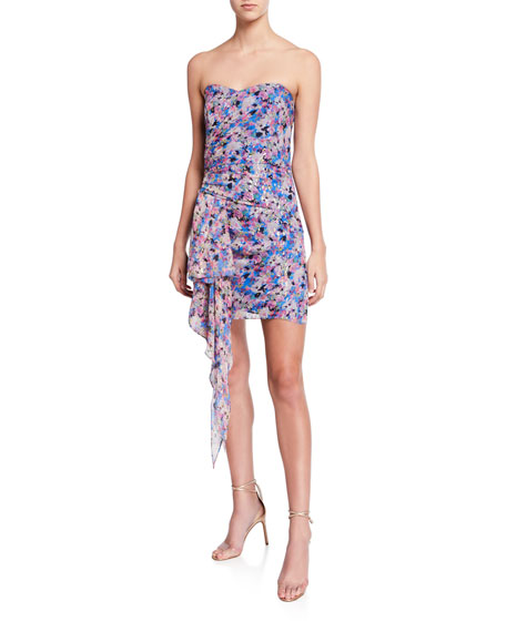 Shoshanna Tissa Metallic Floral Bustier Side-Drape Mini Dress