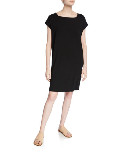 Plus Size Square-Neck Short-Sleeve Jersey Shift Dress