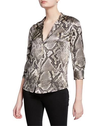 Aoki Snake-Print Button-Down Silk Blouse with Band Collar