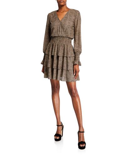 Cheetah Tiered Long-Sleeve Mini Dress
