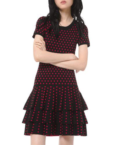 Polka-Dot Short-Sleeve 3-Tier Mini Dress
