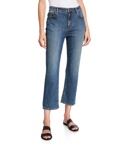 Petite Organic Cotton High-Waist Straight-Leg Cropped Jeans