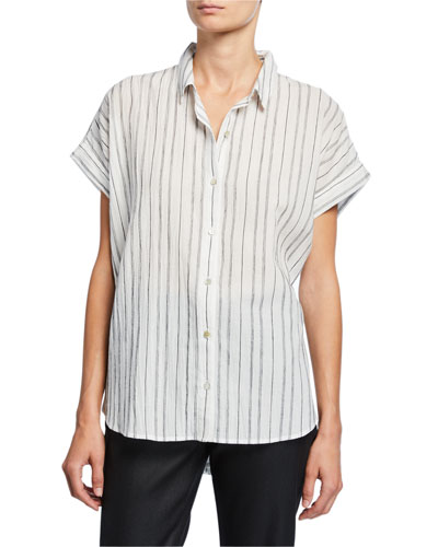 Petite Striped Button-Down Short-Sleeve Shirt