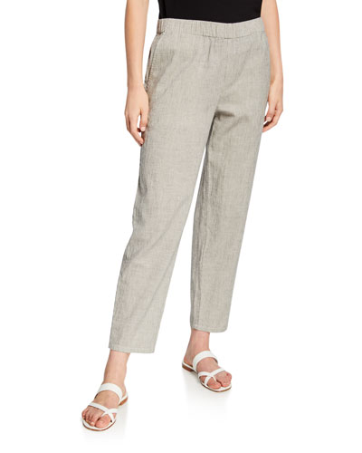 Plus Size Ticking Stripe Tapered Pull-On Ankle Pants