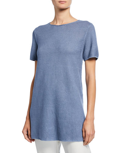 Petite Organic Linen/Cotton Short-Sleeve Corded Tunic Sweater