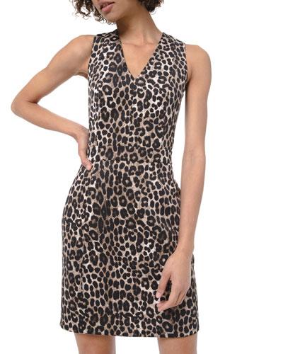 Cheetah Scuba V-Neck Sleeveless Mini Dress