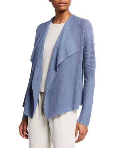 Plus Size Drape-Font Organic Linen/Cotton Cardigan