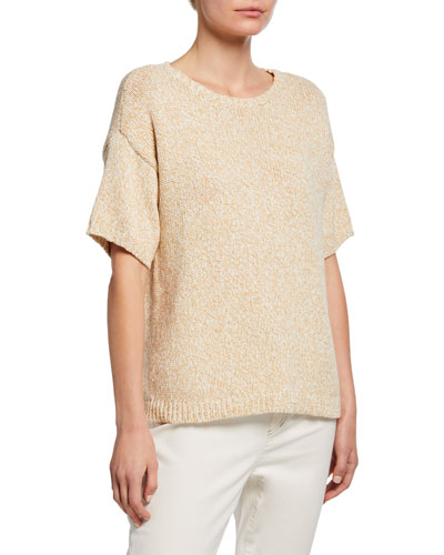 Organic Cotton Twisted Chainette Short-Sleeve Boxy Sweater