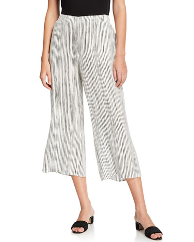 Striped Wide-Leg Cropped Silk Crepe Pull-On Pants