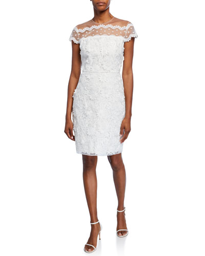 Jan Cap-Sleeve Textured Lace Cocktail Dress