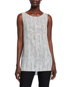 Eileen Fisher Sleeveless Striped Silk Long Shell and