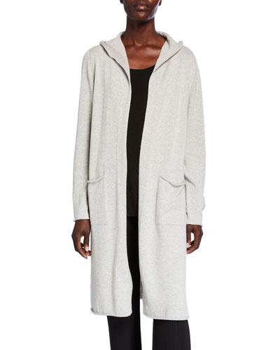 Plus Size Hooded Peruvian Organic Cotton Long Cardigan