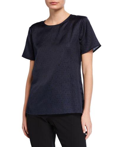 Dash-Print Silk/Organic Cotton Short-Sleeve Top