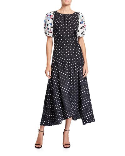 Cassandra Dot-Print Puff-Sleeve Midi Dress