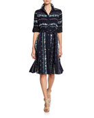 Finley Petite Jeanette Taos Stripe Long-Sleeve Shirtdress with