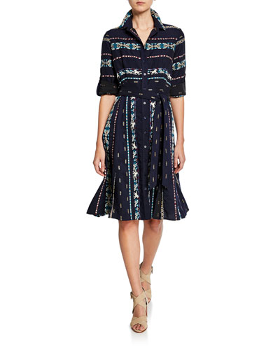 Petite Jeanette Taos Stripe Long-Sleeve Shirtdress with Belt