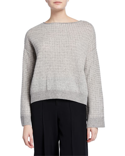 Textured Grid Boat-Neck Sweater