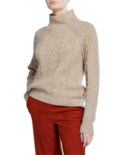 Zigzag Cable-Knit Turtleneck Sweater