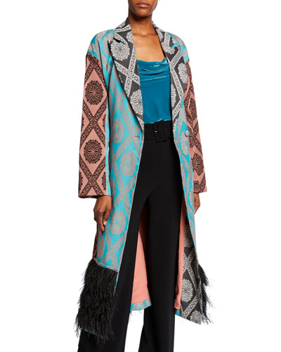 Phoebe Printed Coat with Ostrich Feathers