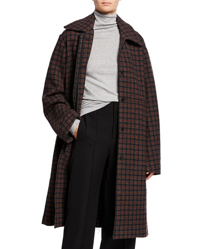 Belted Check Wool Coat