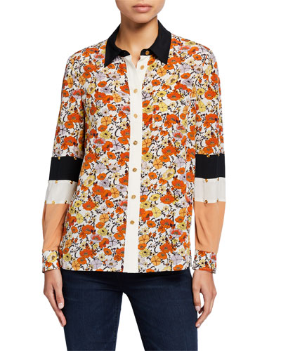 Blossom Ditsy Patchwork Button-Down Silk Shirt w/ Stud Trim