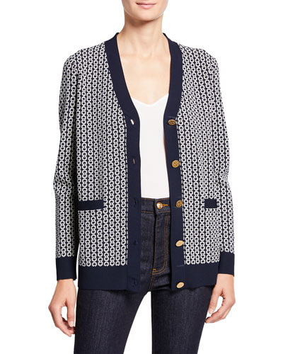Gemini Link Jacquard V-Neck Button-Front Relaxed Cardigan